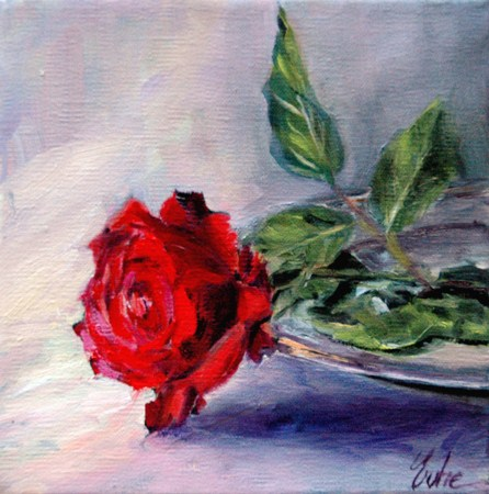 """La rose sur un plateau"" original fine art by Evelyne Heimburger Evhe"