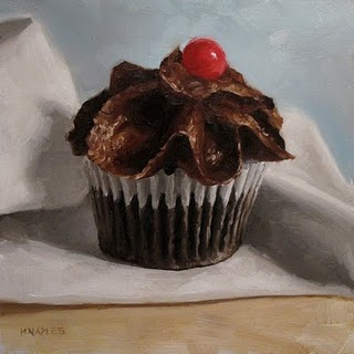 """Single Cupcake"" original fine art by Michael Naples"