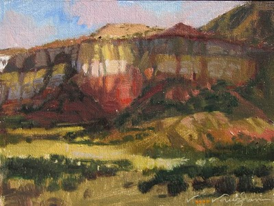 """""""Abiquiu Bluff"""" original fine art by V.... Vaughan"""