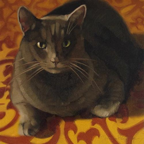 """Golden Gray oil painting of cat on scroll pattern"" original fine art by Diane Hoeptner"