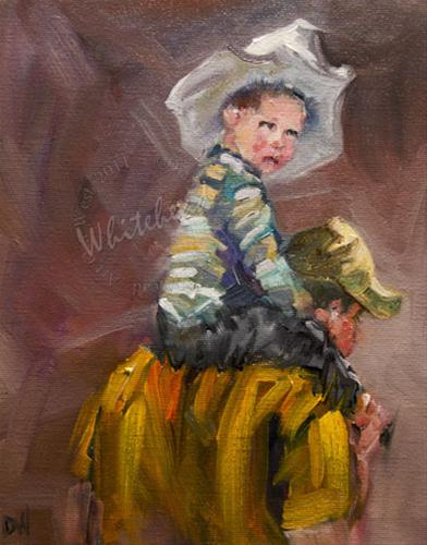"""RODEO COWBOY WESTERN ART OIL PAINTING DIANE WHITEHEAD SEPTEMBER 14"" original fine art by Diane Whitehead"