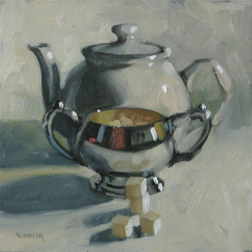 """Sugar Sugar Tea 6x6 oil"" original fine art by Claudia Hammer"