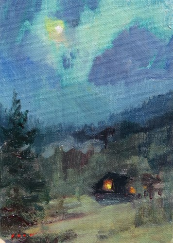 """Cabin Moonlight"" original fine art by V.... Vaughan"