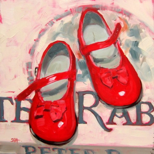 """Red Mary Janes"" original fine art by Sandy Haynes"