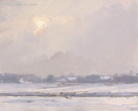 """Landscape winter 1 Hazy sun and snow (Sneeuw) (available)"" original fine art by Roos Schuring"