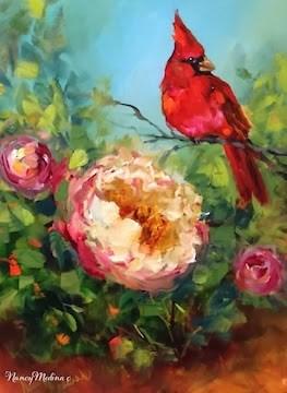 """""""Scarlet Admirer, Peony and Cardinal by Nancy Medina"""" original fine art by Nancy Medina"""