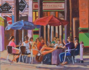 """Favorite Cafe"" original fine art by Robert Frankis"