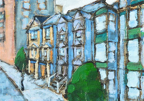 """San Francisco Victorian Houses"" original fine art by Kevin Inman"