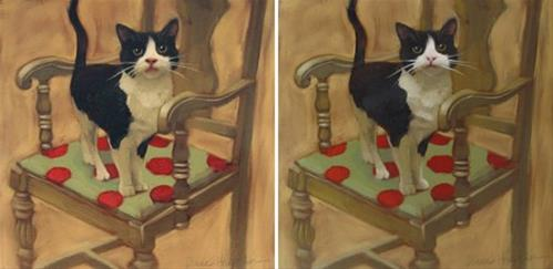 """Cat on Chair, before and after repaint"" original fine art by Diane Hoeptner"