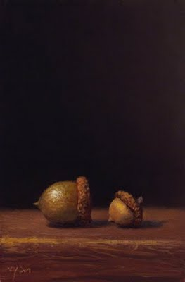 """Still Life with Two Acorns"" original fine art by Abbey Ryan"