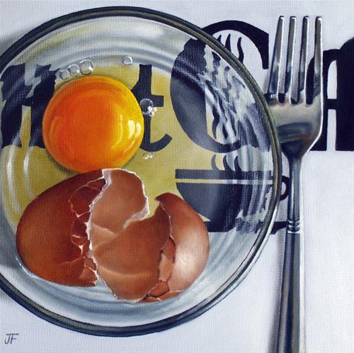 """Egg Study - Hot Coffee"" original fine art by Jelaine Faunce"