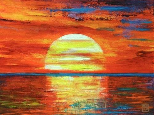 """4033 - Setting Sun - Windpower Series"" original fine art by Sea Dean"