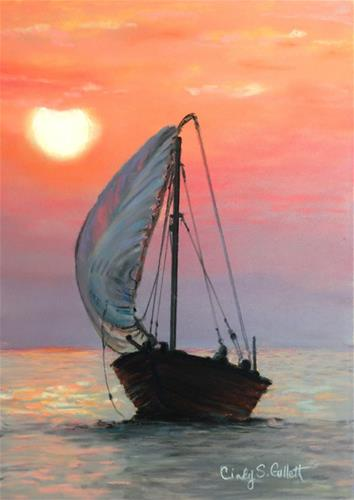 """""""Sunset Sail"""" original fine art by Cindy Gillett"""