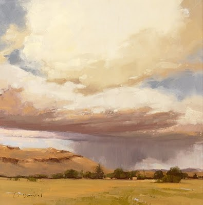 """Distant Showers (enlarged)"" original fine art by Laurel Daniel"