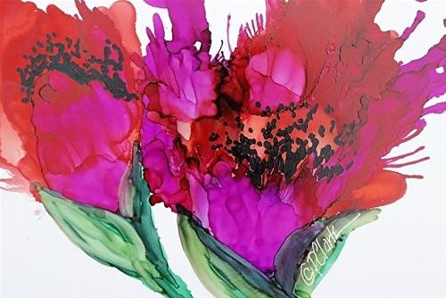 """Poppy Delight II, 5 x 7 Alcohol Ink, Floral"" original fine art by Donna Pierce-Clark"