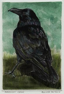 """Monotype: American Crow"" original fine art by Belinda Del Pesco"