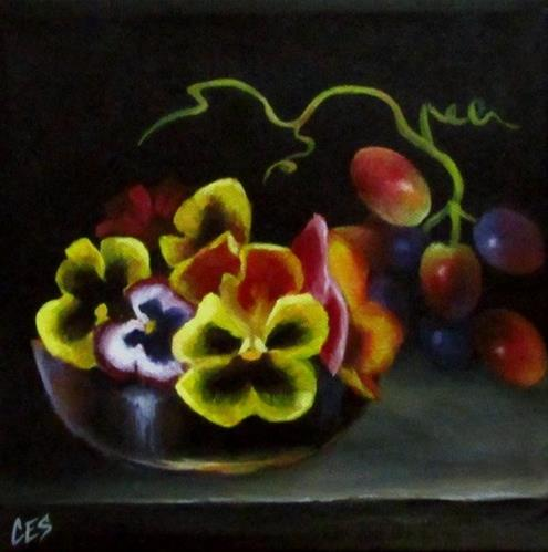 """Pansies in the Grape Dish"" original fine art by ~ces~ Christine E. S. Code"