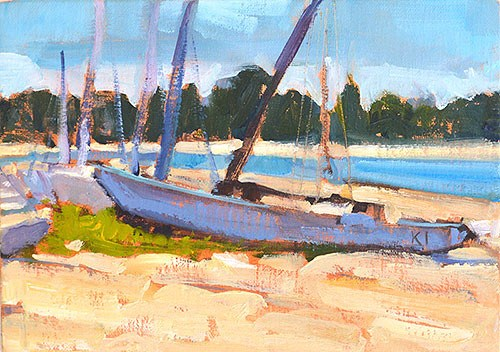 """Boats, Mission Bay"" original fine art by Kevin Inman"