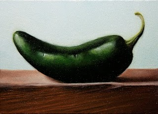 """Green Jalapeno"" original fine art by Jonathan Aller"