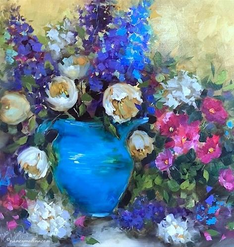"""Tough Decisions About Italy and Blue Vintage Tulips - Nancy Medina Art Classes and Workshops"" original fine art by Nancy Medina"