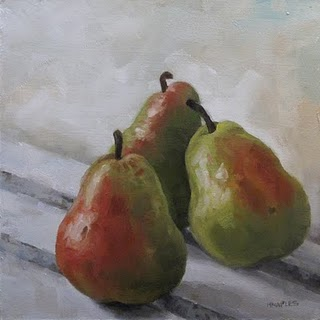 """Three Pears"" original fine art by Michael Naples"