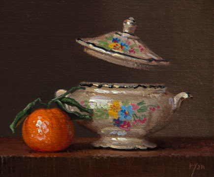 """Still Life with Tangerine and Sugar Bowl (magic is still possible)  (+ Truth an amazing video abou"" original fine art by Abbey Ryan"