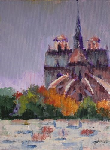 """Notre Dame Cathedral, Architectural Paintings by Arizona Artist Amy Whitehouse"" original fine art by Amy Whitehouse"