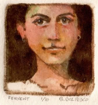 """Miniature Drypoint engraving: Fervent"" original fine art by Belinda Del Pesco"