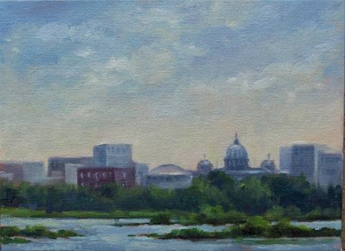 """""""'Across the River' View of the Harrisburg, PA Skyline from West Fairview An Original Plein Air Oil P"""" original fine art by Claire Beadon Carnell"""