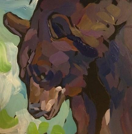 """Bear Chuckle"" original fine art by Kat Corrigan"