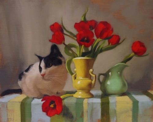 """Tuxedo and Tulips and a Ramble on the Color Green"" original fine art by Diane Hoeptner"