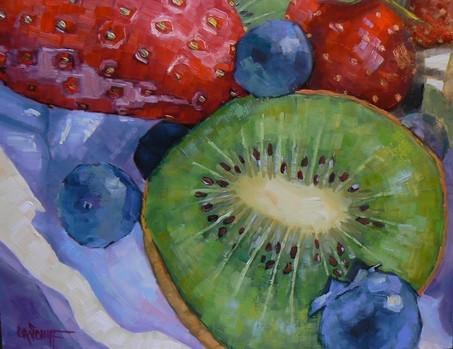 """Berries and Kiwi"" original fine art by Carol Schiff"