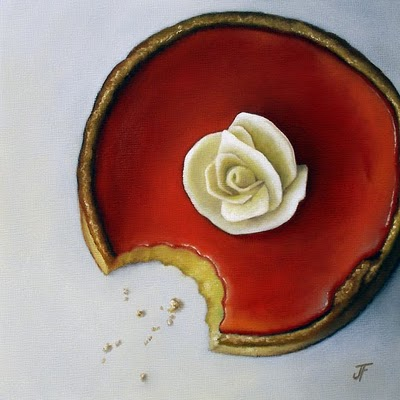 """Study - Lemon Raspberry Tart"" original fine art by Jelaine Faunce"