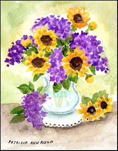 """Tiny Lilacs and Sunflowers"" original fine art by Patricia Ann Rizzo"