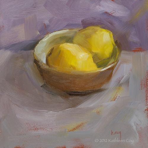 """""""Two Lemons"""" original fine art by Kathleen Coy"""