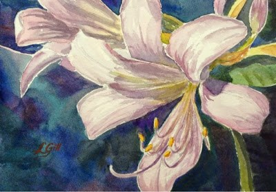 """Day 7 - Lavender Crinums - part 1"" original fine art by Lyn Gill"