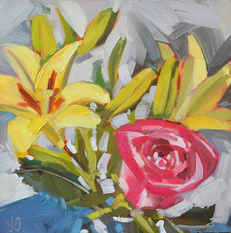 """Trader Joe Flowers"" original fine art by Jessica Green"