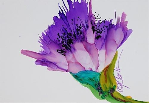 """Lavender Poppy, 5 x 7 alcohol ink, floral"" original fine art by Donna Pierce-Clark"