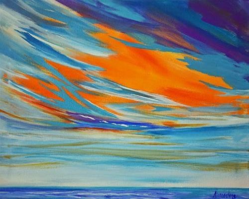 """Original Contemporary Seascape Painting Sky's The Limit by Contemporary International Artist Arrac"" original fine art by Arrachme Art"
