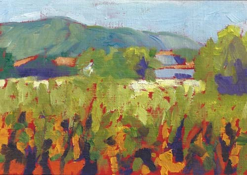 """Vineyard Study"" original fine art by Lucinda Howe"