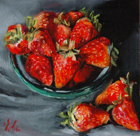 """Les fraises"" original fine art by Evelyne Heimburger Evhe"