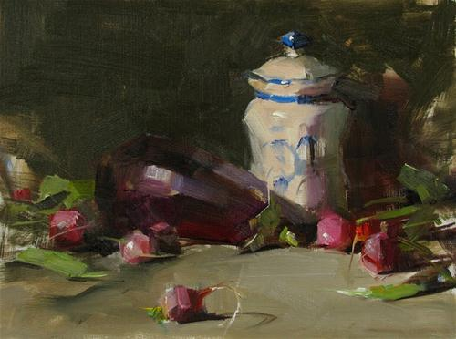 """Eggplant and Radishes --- Sold"" original fine art by Qiang Huang"
