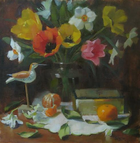 """Shorebird and spring flowers"" original fine art by Kathy Weber"