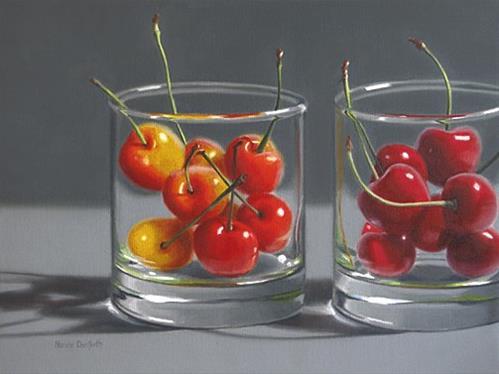 """Cherries in Two Glasses"" original fine art by Nance Danforth"