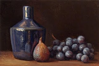 """Fig and Concord Grapes with Blue Bottle"" original fine art by Abbey Ryan"