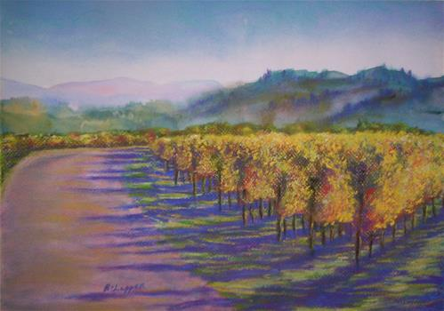 """Evening Light on the Vines"" original fine art by Becky Chappell"