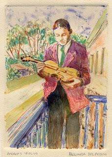 """Caran D'Ache Monotype: Andrea's Violin"" original fine art by Belinda Del Pesco"