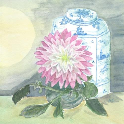 """Dahlia and Ginger Jar"" original fine art by Laura Denning"