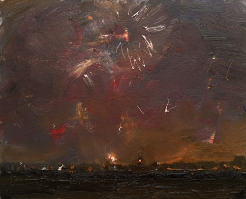 """New Year's Eve – Painting Fireworks at 7.30 PM"" original fine art by Roos Schuring"