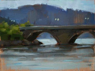 """""""Schluchsee Bridge"""" original fine art by Carol Marine"""